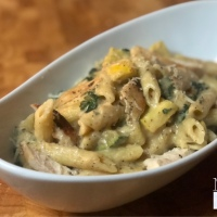 Cauliflower Chicken Alfredo with Penne